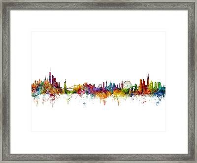 New York And London Skyline Mashup Framed Print by Michael Tompsett