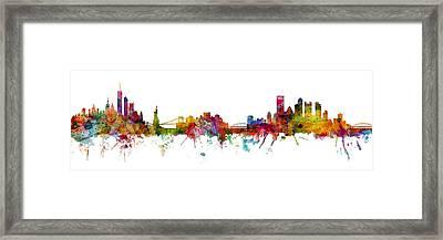 New York And Pittsburgh Skyline Mashup Framed Print