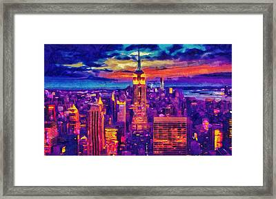 New York Art - Empire State Building Cityscape Painting Framed Print