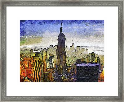 New York At Dusk Van Gogh Style Framed Print