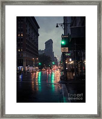 New York At Night Flatiron Framed Print by John Farnan