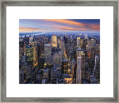 New York At Night Framed Print by Kelley King