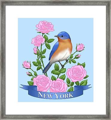 New York Bluebird And Pink Roses Framed Print