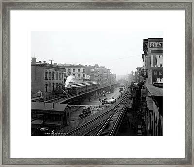 New York Bowery At Grand St.  1900 Framed Print