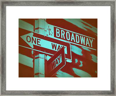 New York Broadway Sign Framed Print by Naxart Studio