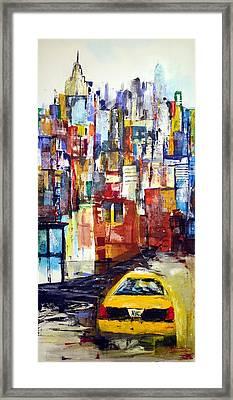 New York Cab Framed Print