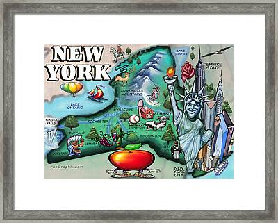 New York Cartoon Map Framed Print