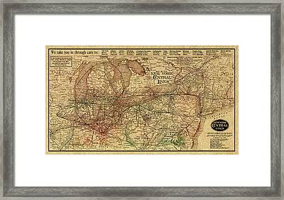 New York Central Lines Railway Map Vintage Circa 1918 On Worn Distressed Parchment Framed Print