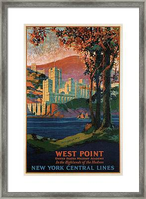 New York Central Lines - West Point - Retro Travel Poster - Vintage Poster Framed Print