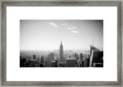 New York City - Empire State Building Panorama Black And White Framed Print by Thomas Richter