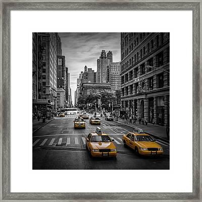 New York City 5th Avenue Traffic Framed Print by Melanie Viola