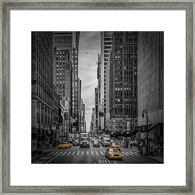 New York City 7th Avenue Traffic Framed Print by Melanie Viola