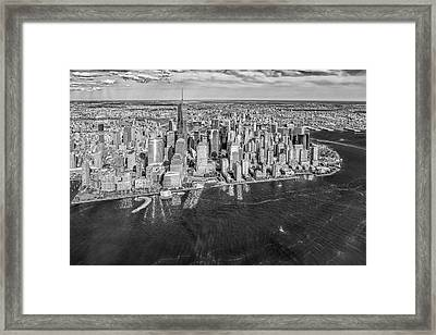 New York City Aerial View Bw Framed Print