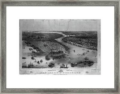 New York City And Brooklyn Showing Battery Park And Governors Island  Framed Print