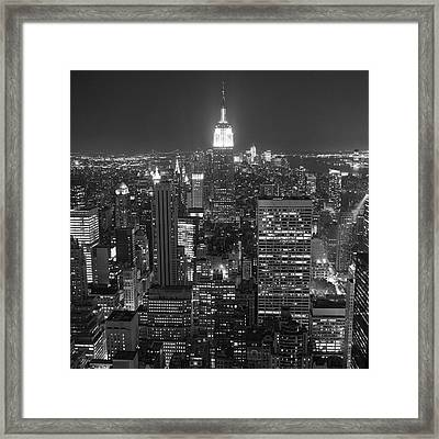 New York City At Night Framed Print by Adam Garelick