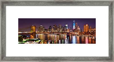 New York City Brooklyn Bridge And Lower Manhattan At Night Nyc Framed Print by Jon Holiday