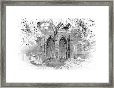 New York City Brooklyn Bridge In Detail - Grey Framed Print