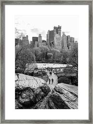 New York City Central Park Ice Skating Framed Print