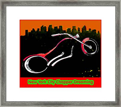 New York City Chopper Dreaming Red Jgibney The Museum Zazzle Gifts Fa Framed Print by The MUSEUM Artist Series jGibney