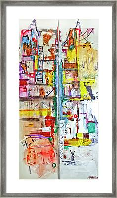 New York City Icons And Symbols Framed Print