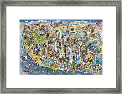 New York City Illustrated Map Framed Print by Maria Rabinky