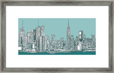 New York City In Blue-green Framed Print by Building  Art