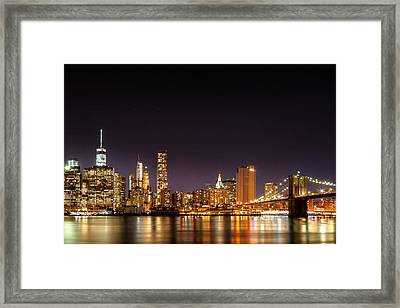 New York City Lights At Night Framed Print