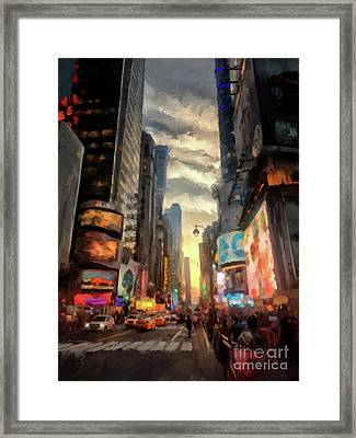 New York City Lights Framed Print by Lois Bryan