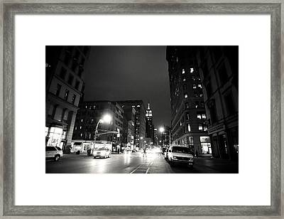 New York City - Midnight Framed Print by Vivienne Gucwa