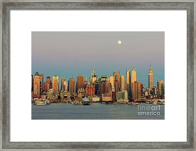 New York City Moonrise I Framed Print by Clarence Holmes