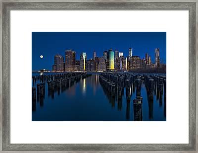 New York City Moonset Framed Print by Susan Candelario