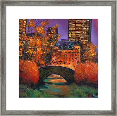 New York City Night Autumn Framed Print
