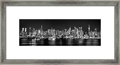 New York City Nyc Skyline Midtown Manhattan At Night Black And White Framed Print