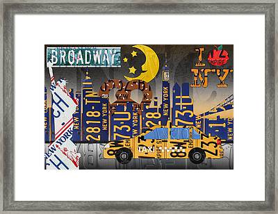 New York City Nyc The Big Apple License Plate Art Collage No 2 Framed Print by Design Turnpike