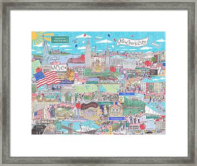 New York City On A Sunny Day Framed Print