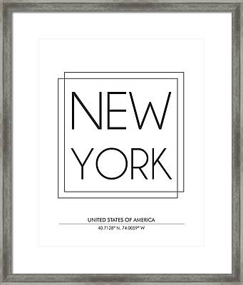 New York City Print With Coordinates Framed Print