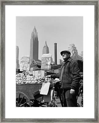 New York City, Push Cart Fruit Vendor Framed Print by Everett
