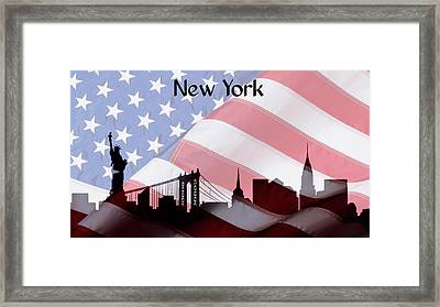 New York City Skyline American Flag Framed Print