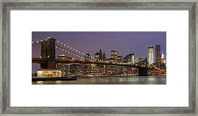 New York City Skyline And Brooklyn Bridge  Framed Print by Juergen Roth