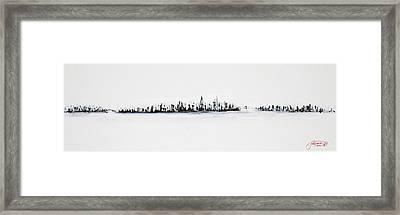 New York City Skyline Black And White Framed Print