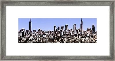 New York City Skyline Blue Graphic Framed Print by Edward Fielding