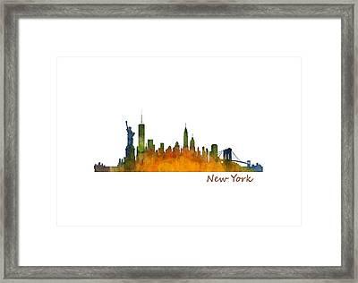 New York City Skyline Hq V01 Framed Print by HQ Photo