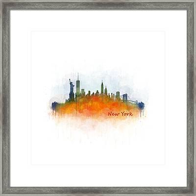 New York City Skyline Hq V03 Framed Print