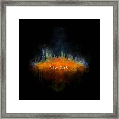 New York City Skyline Hq V04 Framed Print