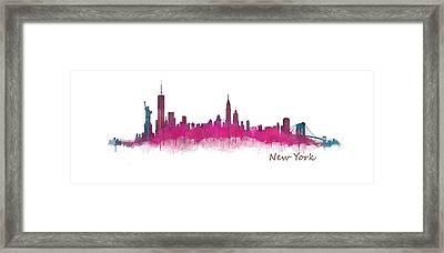 New York City Skyline Hq V05 Pink Violet Framed Print