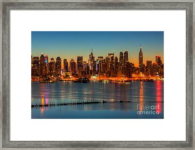New York City Skyline Morning Twilight V Framed Print by Clarence Holmes