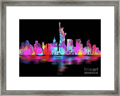 New York City Skyline - Night Bright Framed Print by Prar Kulasekara