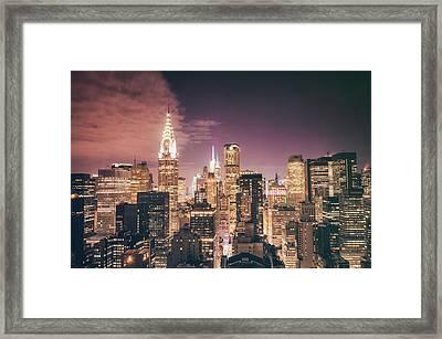 New York City Skyline - Night Framed Print