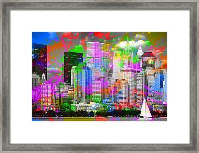 New York City Skyline Paint Splatters Pop Art Framed Print