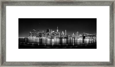 New York City Skyline Panorama At Night Bw Framed Print by Az Jackson